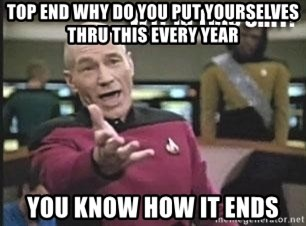 Patrick Stewart WTF - Top end why do you put yourselves thru this every year you know how it ends