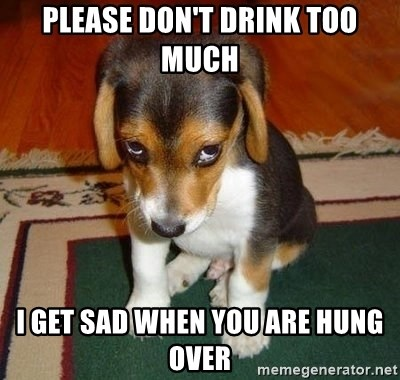 Sad Puppy - Please don't drink too much I get sad when you are hung over
