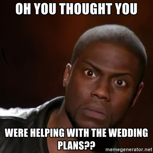 kevin hart nigga - Oh you thought you were helping with the wedding plans??