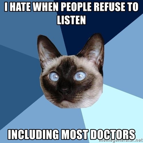 Chronic Illness Cat - I hate when people refuse to listen including most doctors