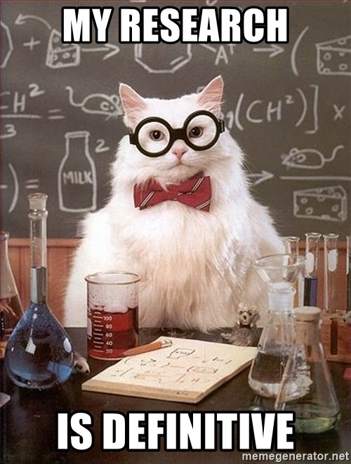 Science Cat - my research is definitive