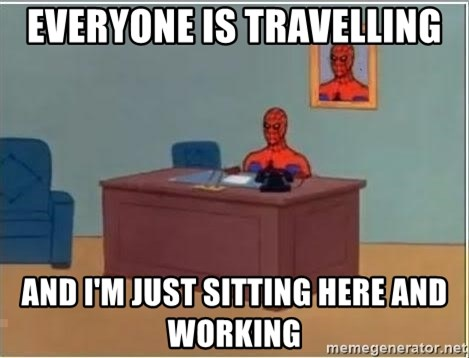 Spiderman Desk - everyone is travelling and i'm just sitting here and working