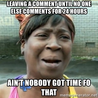 Ain't Nobody got time fo that - Leaving a comment until no one else comments for 24 hours Ain't nobody got time fo that