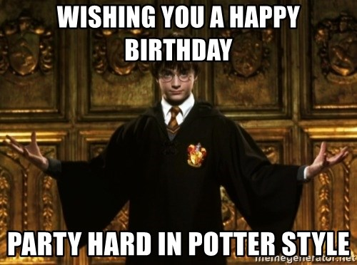 Funny Harry Potter Birthday Meme : Wishing you a happy birthday party hard in potter style