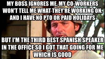 Bill Murray Caddyshack - My boss ignores me, my co-workers won't tell me what they're working on, and i have no PTO or paid holidays  but i'm the third best spanish speaker in the office so i got that going for me which is good