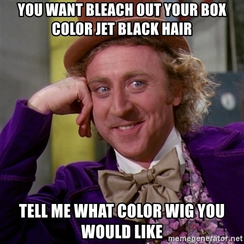 Willy Wonka - You want bleach out your box color jet black hair Tell me what color wig you would like