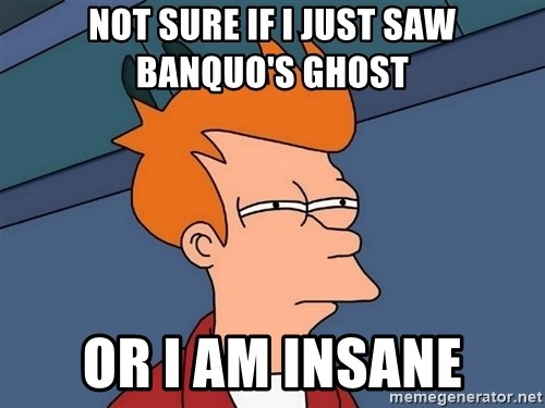Futurama Fry - Not sure if I just saw Banquo's ghost or I am insane