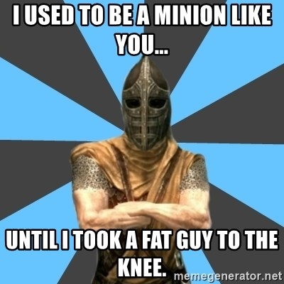 Unfortunate Guard - I used to be a Minion like you... Until I took a fat guy to the knee.