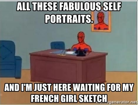 Spiderman Desk - All these fabulous self portraits. And I'm just here waiting for my french girl sketch