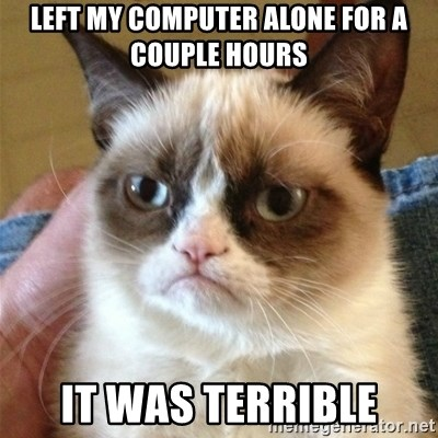 Grumpy Cat  - Left my computer alone for a couple hours it was terrible