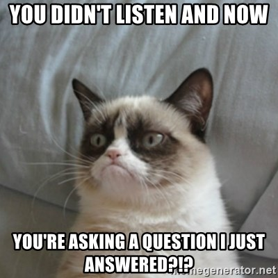 Grumpy Cat ={ - You didn't listen and now you're asking a question I just answered?!?