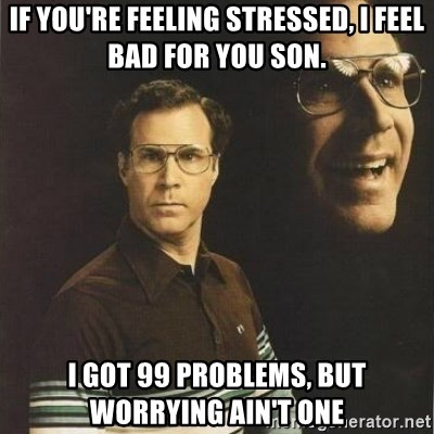will ferrell - If you're feeling stressed, I feel bad for you son. I got 99 problems, but worrying ain't one