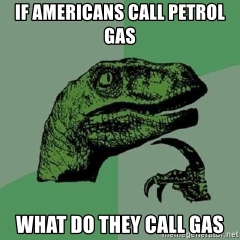 Philosoraptor - if americans call petrol gas  what do they call gas