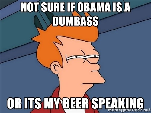 Futurama Fry - Not sure if obama is a dumbass or its my beer speaking