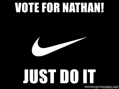 Nike swoosh - Vote for Nathan! just do it