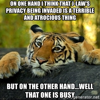 Confession Tiger - On one hand I think that J-law's privacy being invaded is a terrible and atrocious thing But on the other hand...Well that one is busy