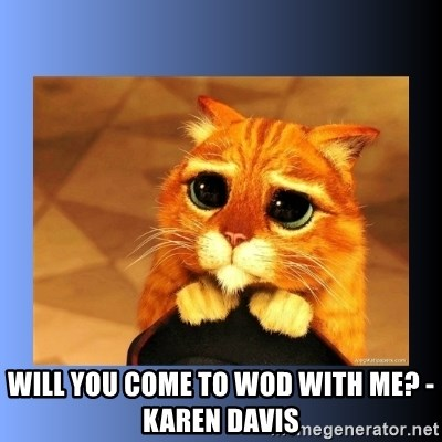 puss in boots eyes 2 -  Will you come to WOD with me? - Karen Davis