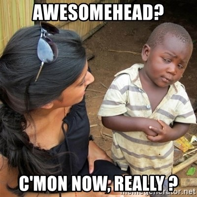 So You're Telling me - Awesomehead? C'mon now, really ?