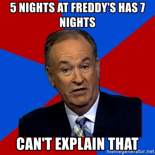 Bill O'Reilly Proves God - 5 nights at freddy's has 7 nights can't explain that