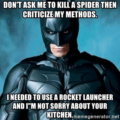 """Blatantly Obvious Batman - Don't ask me to kill a spider then criticize my methods. I needed to use a rocket launcher and I""""m not sorry about your kitchen."""