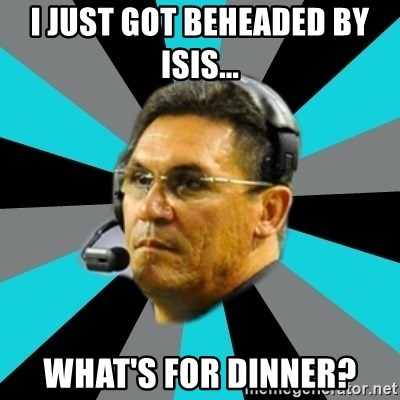 Stoic Ron - I just got beheaded by ISIS... what's for dinner?