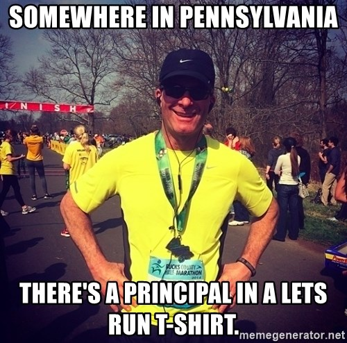 MikeRossiCheat - Somewhere in Pennsylvania There's a Principal in a Lets Run T-Shirt.