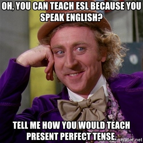 oh you can teach esl because you speak english tell me how you would teach present perfect tense oh, you can teach esl because you speak english? tell me how you,Esl Meme