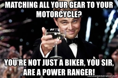 leonardo dicaprio 2 - Matching all your gear to your motorcycle? You're not just a biker, you sir, are a Power Ranger!