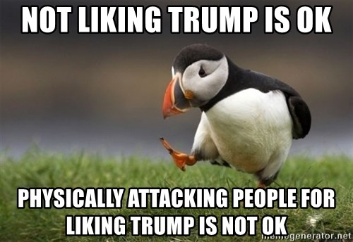 Unpopular Opinion Puffin - Not liking Trump is ok physically attacking people for liking Trump is NOT ok