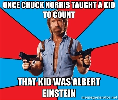Chuck Norris  - Once Chuck Norris taught a kid to count that kid was Albert Einstein