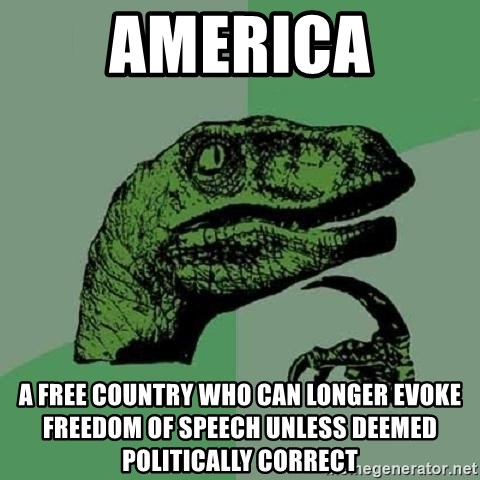 Philosoraptor - america a free country who can longer evoke freedom of speech unless deemed politically correct