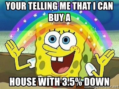 Imagination - Your telling me that I can buy a  house with 3.5% down