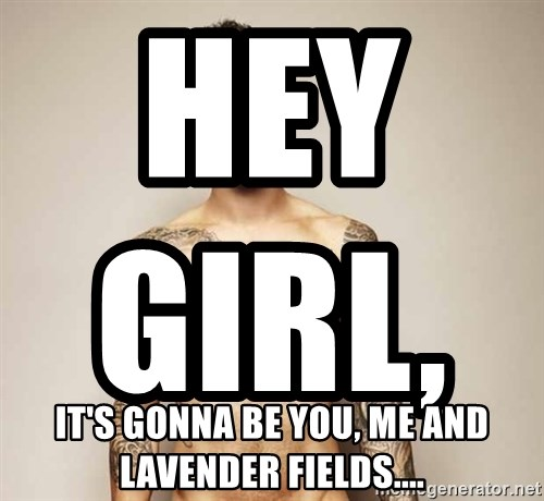 Adam Levine - Hey girl,                                It's gonna be you, me and lavender fields....