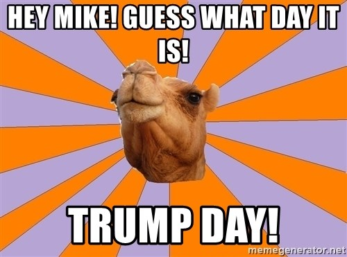 hey mike guess what day it is trump day hey mike! guess what day it is! trump day! foul bachelor camel