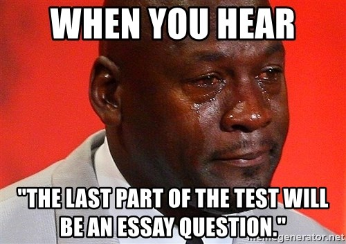 when you hear the last part of the test will be an essay question when you hear the last part of the test will be an essay question michael crying