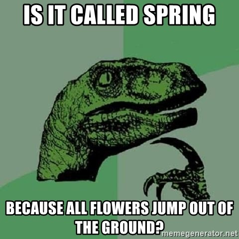 Philosoraptor - is it called spring because all flowers jump out of the ground?