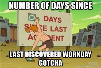 days since - Number of days since last discovered workday gotcha