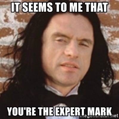 Disgusted Tommy Wiseau - It seems To me that You're the expert mark