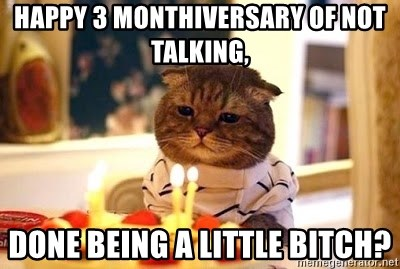 Birthday Cat - Happy 3 MONThIVERSARY OF not talking, Done being a little bitch?