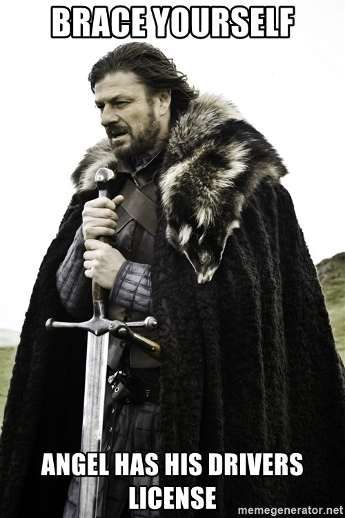 Ned Stark - Brace yourself Angel has his drivers license