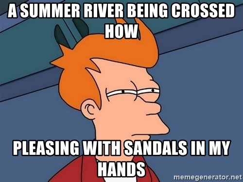 Futurama Fry - A summer river being crossed how pleasing with sandals in my hands