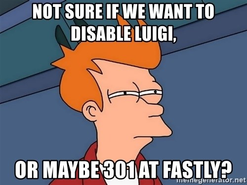 Futurama Fry - not sure if we want to disable luigi, or maybe 301 at fastly?