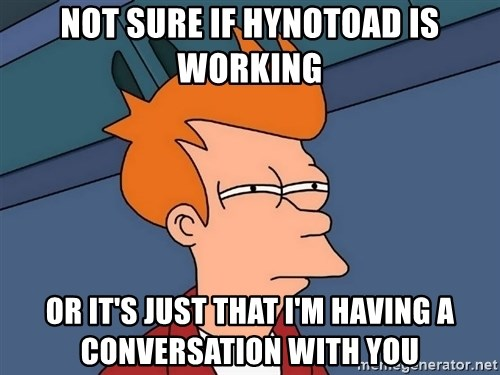 Futurama Fry - not sure if hynotoad is working or it's just that I'm having a conversation with you
