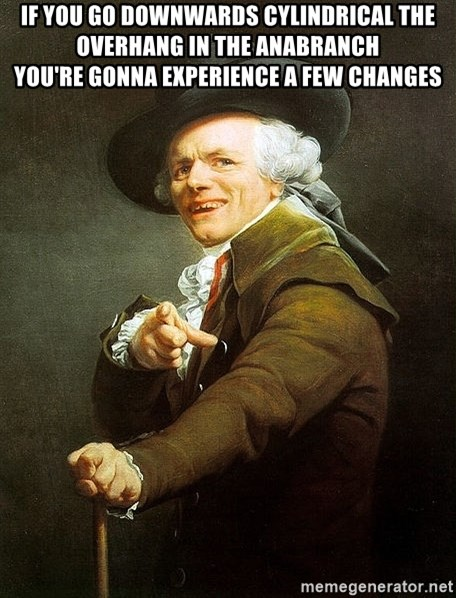 Ducreux - If you go downwards cylindrical the overhang in the anabranch  You're gonna experience a few changes
