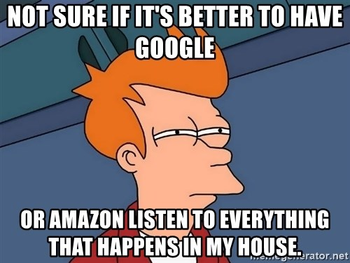 Futurama Fry - not sure if it's better to have google or amazon listen to everything that happens in my house.