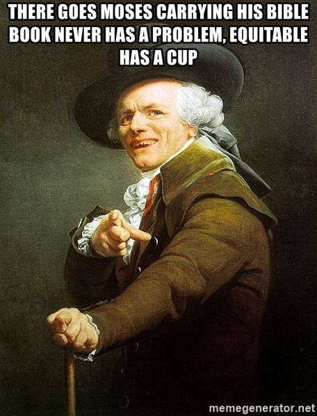 Ducreux - There goes Moses carrying his bible book Never has a problem, equitable has a cup
