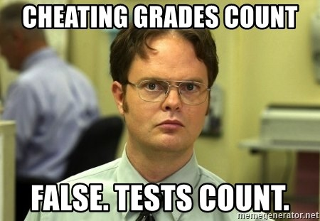 False guy - cheating grades count false. tests count.