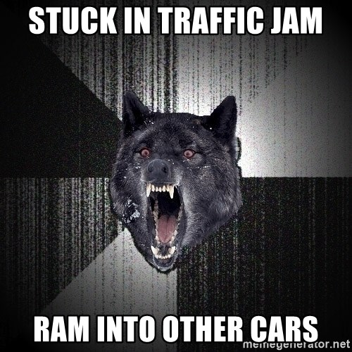 Insanity Wolf - Stuck in traffic jam ram into other cars
