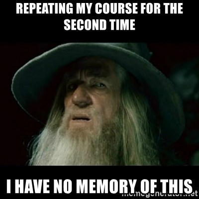 no memory gandalf - REPEATING MY COURSE FOR THE SECOND TIME i have no memory of this