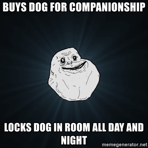 Forever Alone - BUYS DOG FOR COMPANIONSHIP LOCKS DOG IN ROOM ALL DAY AND NIGHT